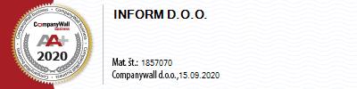 Podjetje Inform d.o.o. se ponaša z eno najboljših bonitetnih ocen mednarodne bonitetne hiše CompanyWall.